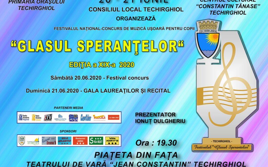 Va invitam la cea de-a XIX-a editie a Festivalului National Concurs de Muzica Usoara pentru Copii, GLASUL SPERANTELOR
